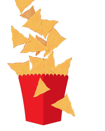 nachos: an illustration of golden crispy fresh nachos falling in to a red carton isolated on a white background with space for text Illustration