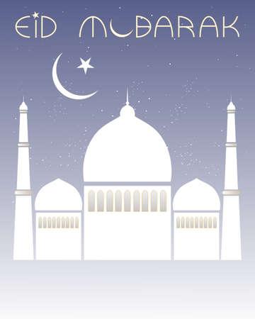 croissant de lune: une illustration d'une carte de voeux d'Eid avec la mosqu�e blanche et croissant de lune sur un fond pourpre �toil� avec espace pour le texte