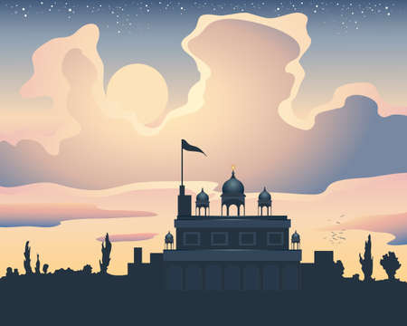 an illustration of a sikh gurdwara at sunset under a colorful sky with clouds and stars and silhouette landscape
