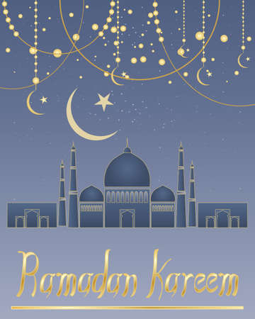 far east: an illustration of a ramadan greeting card with abstract mosque crescent moon symbol and decorations on a blue starry background with gold lettering