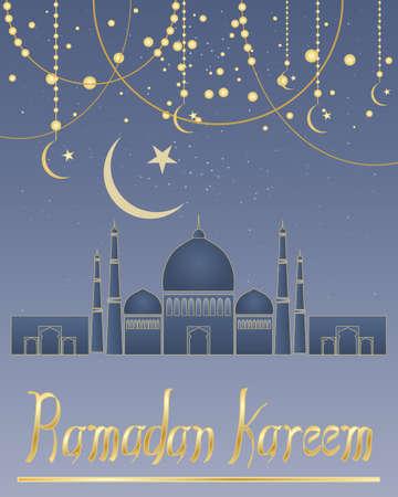 croissant de lune: une illustration d'une carte de voeux ramadan avec abstraite mosqu�e croissant symbole lune et les d�corations sur un fond bleu �toil� avec le lettrage d'or