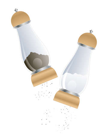 rock salt: an illustration of matching salt and pepper mills isolated on a white background