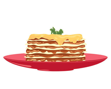 an illustration of a delicious plate of layered lasagne with savory mince and melted cheese on top with garnish on a bright red plate and white background