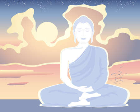 an illustration of a white buddha in meditation under a sunset sky