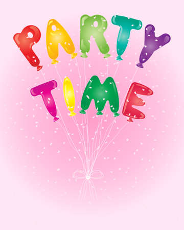 an illustration of colorful balloons spelling party time on a candy pink background with pale confetti