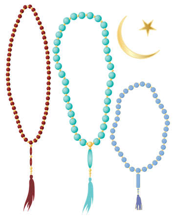 an illustration of islamic prayer beads in different colors with crescent moon symbol isolated on a white background Vector