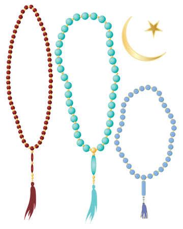 een illustratie van het islamitische gebed kralen in verschillende kleuren met maansikkel symbool geïsoleerd op een witte achtergrond