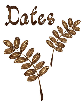dates fruit: an illustration of dates in a leaf design on a white background with the word dates written in italics