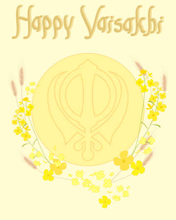 an illustration of ripe wheat and golden mustard flowers surrounding a sun with sikh symbol and happy vaisakhi in greeting card format