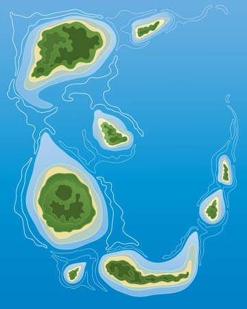 an illustration of a group of tropical islands from the air with lush vegetation sand and blue sea