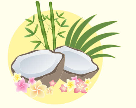 frond: an illustration of a coconut cut in half with pink and yellow frangipani flowers bamboo and palm frond on a yellow sun background