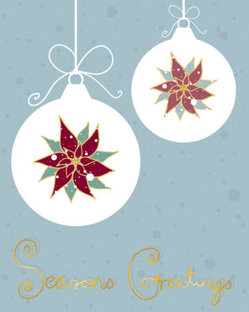 an illustration of a christmas greeting card design with pointsettias baubles and bows on a jade backround and gold lettering Vector