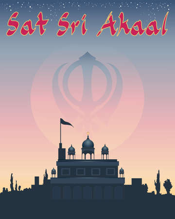 sikh: an illustration of a sikh greeting sat sri akaal meaning god is the ultimate truth with gurdwara temple under a starry sunset sky