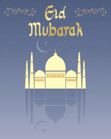 an illustration of a happy eid greeting card design with golden lettering a stylized mosque and crescent moon with reflection and space for text