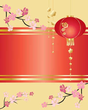 asian culture: l'illustrazione di un stile cinese biglietto di auguri decorativo con rami fiore lanterna e lo spazio per il testo