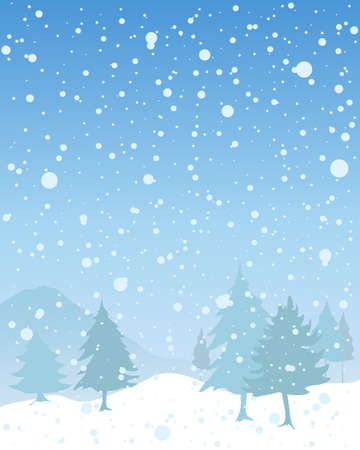 flurry: an illustration of a snowy seasonal christmas landscape with fir trees and hills under a blue sky