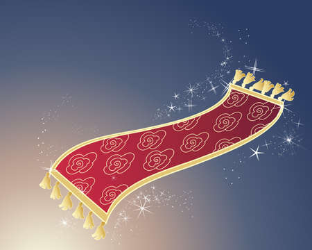 an illustration of a red and gold magic carpet on a dark background with white sparkles and space for text Illustration