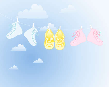 washing clothes: an illustration of three pairs of baby booties in blue pink and yellow with matching bows hanging on a washing line with blue sky and clouds Illustration