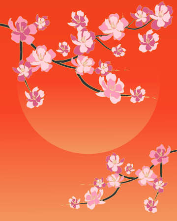 su: an illustration of a simple chinese blossom design with pink flowers on black and gold branches and a tangerine sky and su with space for text