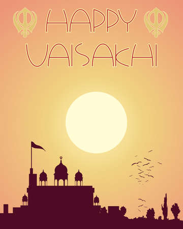 gurdwara: an illustration of an abstract greeting card design with the words happy vaisakhi and a silhouette gurdwara temple at sundown Illustration