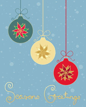 seasons greetings: an illustration of three christmas bauble decorations with pointsettia design in greeting card format with snowflakes and seasons greetings written in gold letters