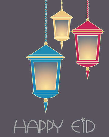 an illustration of an arabic greeting card with three lanterns glowing on a gray background