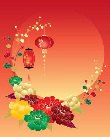 chinese: an illustration of a chinese new year greeting card with red green yellow and gold peony flowers and lanterns surrounding a big setting sun and space for text
