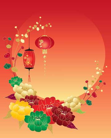 faroles: una ilustración de una nueva tarjeta de felicitación de año nuevo chino con flores rojas verdes y faroles que rodean una gran puesta de sol y el espacio para el texto amarillo y oro peonía Vectores