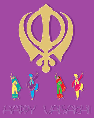 kameez: an illustration of a sikh greeting card design with symbol punjabi dancers and the words happy vaisakhi on a purple background