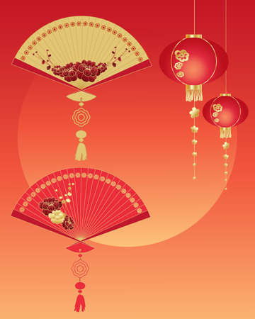an illustration of decorative chinese fans and lanterns on a new year greeting card with a sunset sky