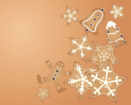 christmas cookie: an illustration of a christmas gingerbread cookie design with stars bell tree gingerbread man and icing sugar granules in greeting card format on a cinamon color background Illustration