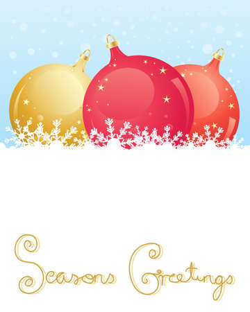 seasons greetings: an illustration of decorative red and gold baubles sitting in snow with the words seasons greetings in greeting card format