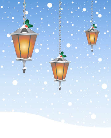 sky lantern: an illustration of decorative christmas lanterns with glowing flame and holly on a snowy background with space for text Illustration
