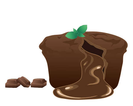 chocolate mint: an illustration of a delicious chocolate fondant dessert with gooey middle mint leaves and pieces of chocolate isolated on a white background