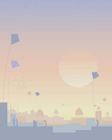 an illustration of a kite festival in india with architectural skyline and people flying kites on rooftops at sunset Çizim