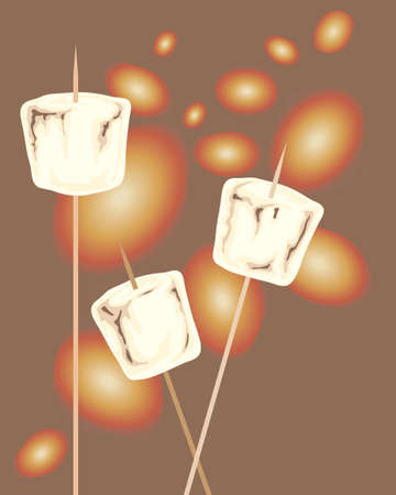 embers: an illustration of delicious marshmallows on skewers toasting over glowing embers on a dark background