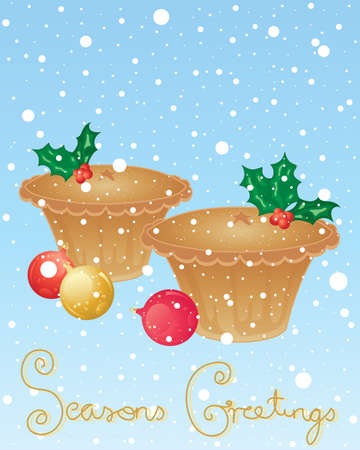 an illustration of christmas mince pies decorated with seasonal holly on a snowy background