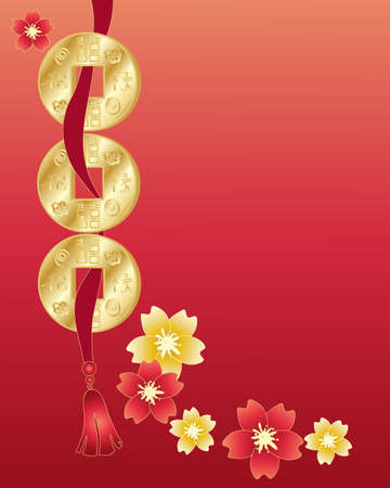 an illustration of a chinese greeting card with coins on a ribbon with blossom in red and gold with space for text Çizim