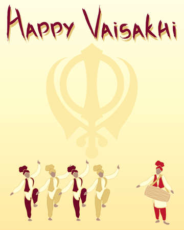 sikh: an illustration of a happy vaisakhi greeting card with sikh symbol and punjabi dancers on a sunshine yellow background