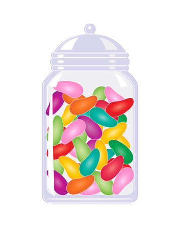 an illustration of a jar of colorful candy jelly beans isolated on a white