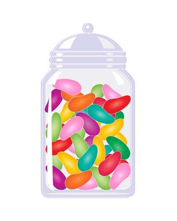 candies: une illustration d'un pot de haricots color�s bonbons � la gel�e isol� sur un fond blanc Illustration