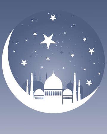 croissant de lune: une illustration d'une conception de la carte de voeux arabe avec la lune blanche mosqu�e de croissant et les �toiles sur un fond de ciel de nuit avec de l'espace pour le texte Illustration