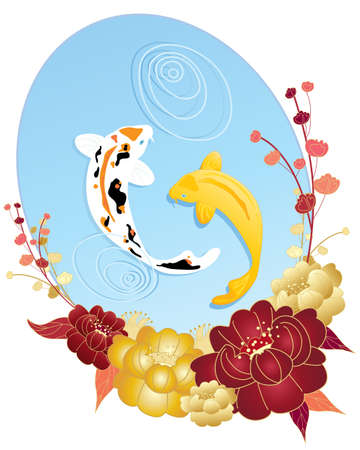 an illustration of a chinese greeting card design with koi carp clear pool and peony flowers on a white background with space for text Vector