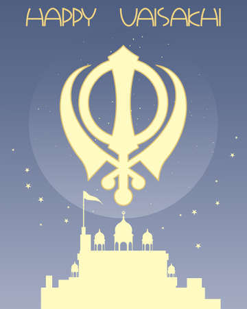 gurdwara: an illustration of a sikh greeting card with symbol gurdwara and stars on a blue background with space for text