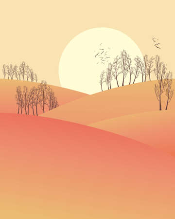 roosting: an illustration of a rural winter evening with rolling hills and trees under a yellow sky with a big setting sun