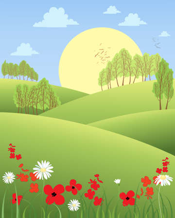 rolling hills: an illustration of a rural summer morning with rolling hills wildflowers and trees with a big yellow sun Illustration