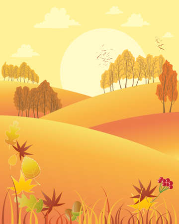 an illustration of a rural autumn fall afternoon with rolling hills colorful trees and fallen leaves under a yellow sky with big sun Stock Vector - 24913202