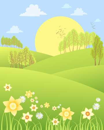 rolling hills: an illustration of rural spring scenery with rolling hills daffodils daisies and trees with a big yellow sun Illustration