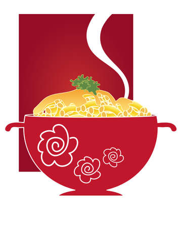 macaroni: an illustration of a steaming bowl of macaroni and cheese with parsley garnish on a red background with space for text