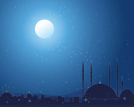 far: an illustration of a silhouette asian skyline with traditional buildings and mosque under a starlit sky
